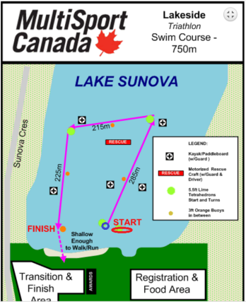 Lakeside Sprint Swim Course 2
